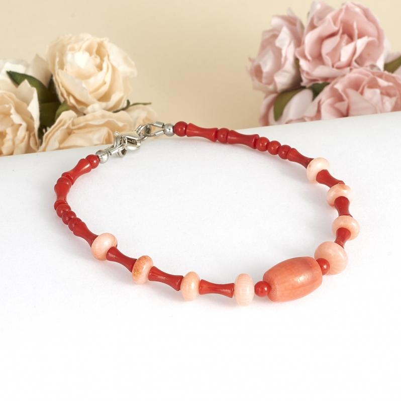 Браслет коралл красный, розовый  18 cм