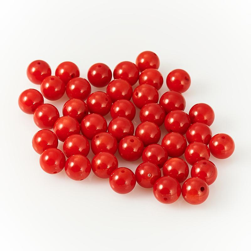 Бусина коралл красный  шарик 8-8,5 мм (1 шт) бусина коралл красный сплюснутый шар 5 5 6 мм огранка 1 шт