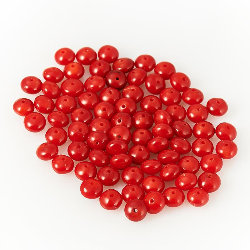 Бусина коралл красный  сплюснутый шар 6 мм (1 шт) бусина коралл оранжевый сплюснутый шар 6 мм 1 шт