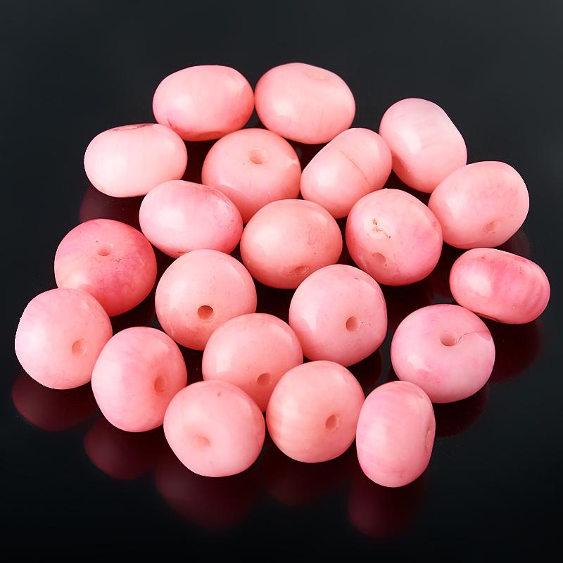 Бусина коралл розовый  сплюснутый шар 6 мм (1 шт)
