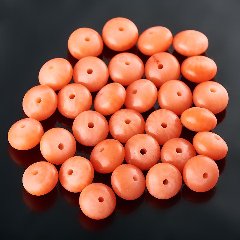 Бусина коралл оранжевый  сплюснутый шар 6 мм (1 шт) бусина коралл оранжевый сплюснутый шар 6 мм 1 шт
