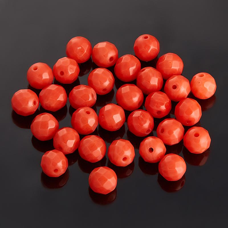 Бусина коралл оранжевый шарик 5,5-6 мм огранка (1 шт) бусина говлит шарик 6 6 5 мм 1 шт