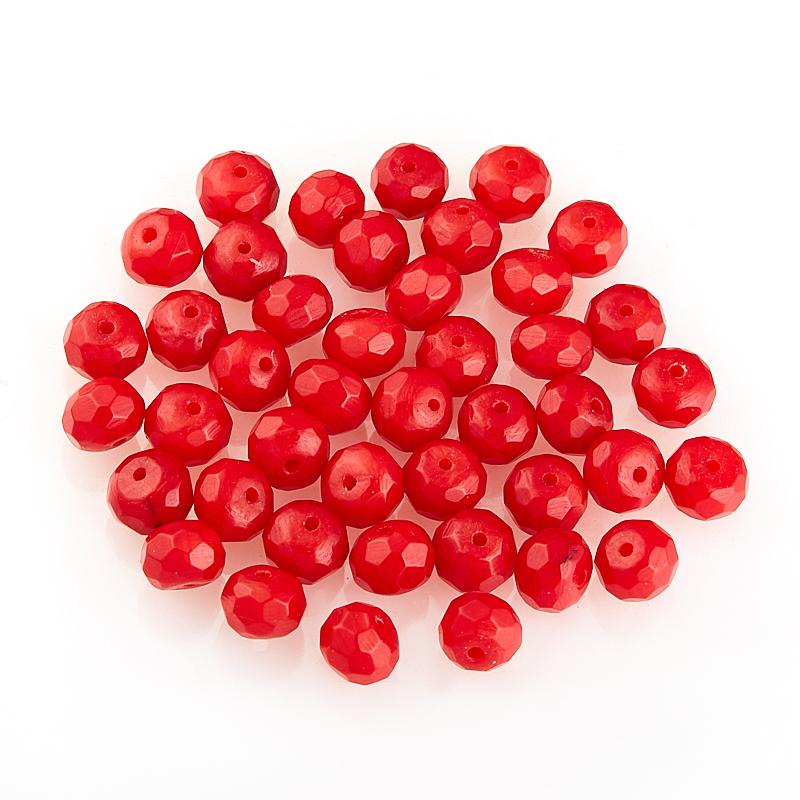 Бусина коралл красный  сплюснутый шар 5-5,5 мм огранка (1 шт) бусина авантюрин зеленый 10 20 мм огранка 1 шт