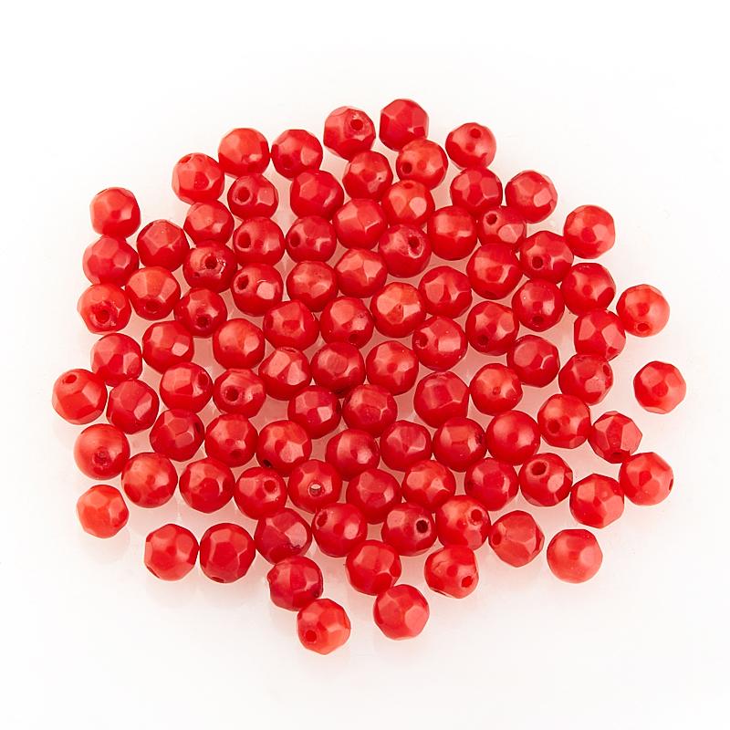 Бусина коралл красный  шарик 3-3,5 мм огранка (1 шт)