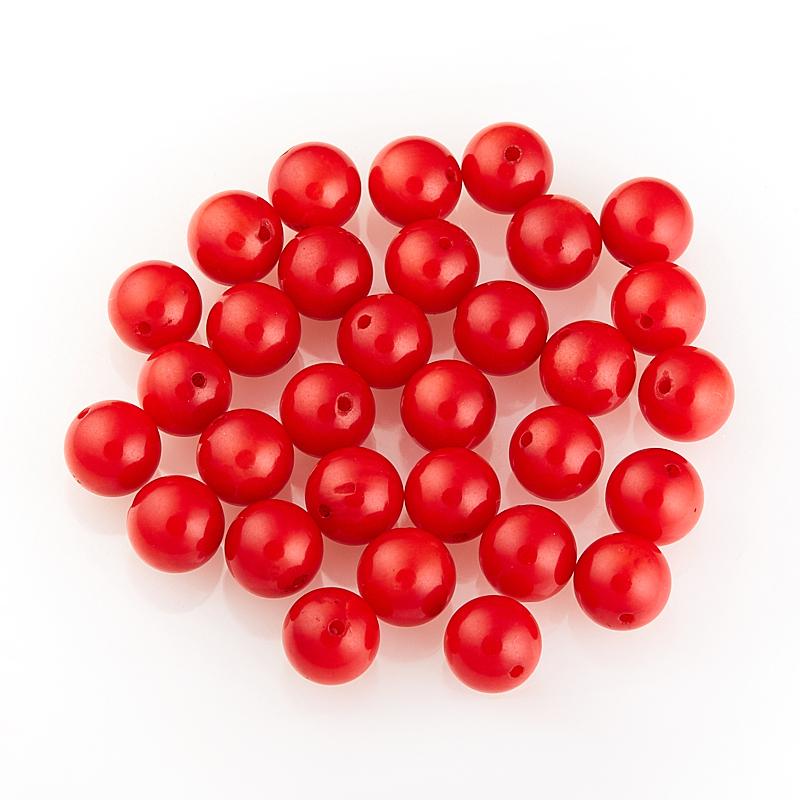 Бусина коралл красный  шарик 6,5-7 мм (1 шт) бусина тигрово соколиный глаз шарик 6 5 7 мм 1 шт