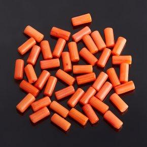 Бусина коралл оранжевый Индонезия цилиндр 3*7 мм (1 шт)