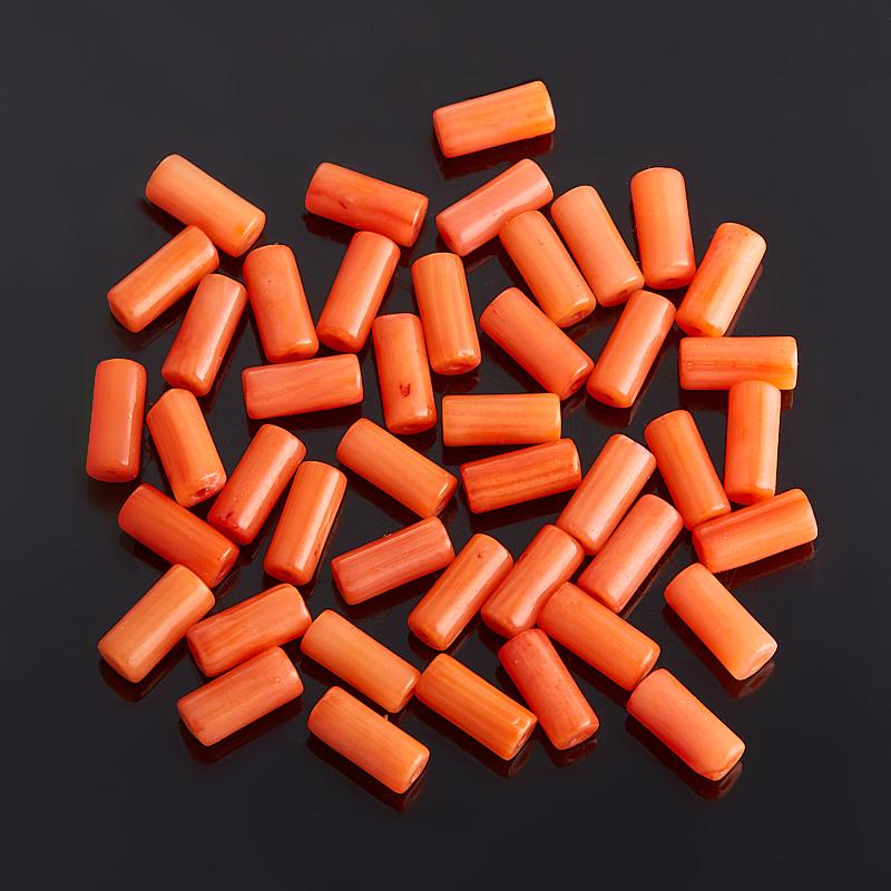 Бусина коралл оранжевый  цилиндр 3*7 мм (1 шт)