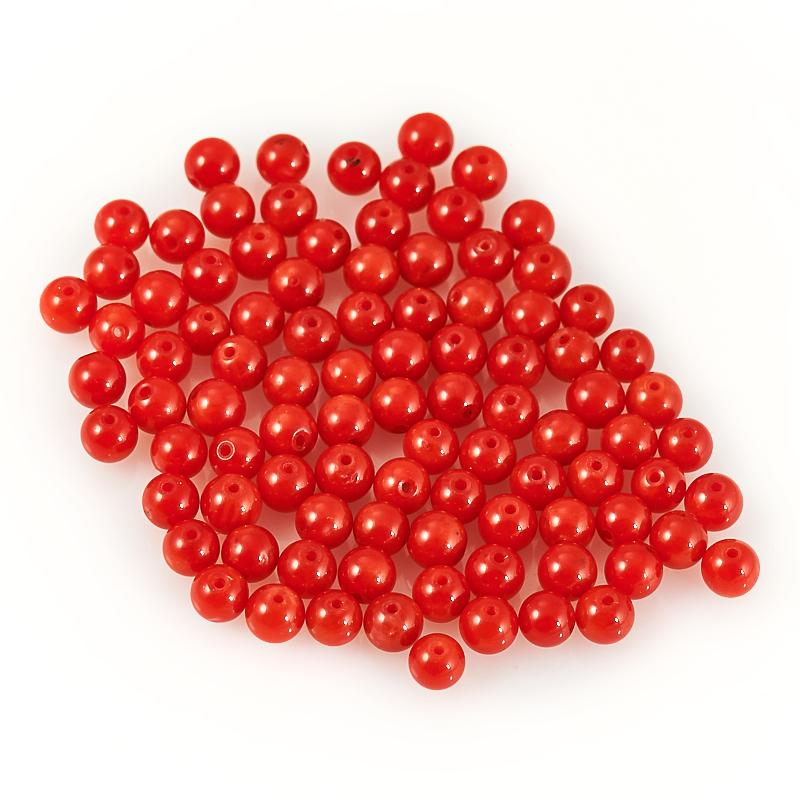 Бусина коралл красный  шарик 4-4,5 мм (1 шт)