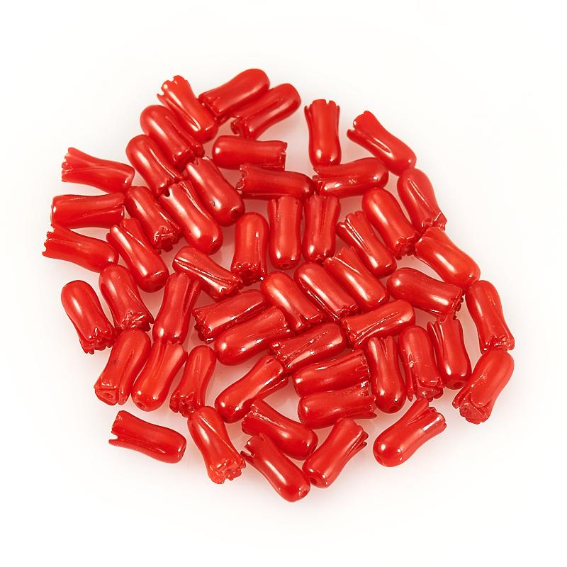 Бусина коралл красный  цветочек 3,5*7 мм (1 шт) бусина сердолик светлый прозрачный сплюснутый шар 6 5 мм 1 шт
