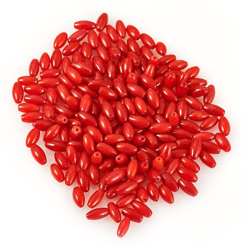 Бусина коралл красный  бочонок 3*6 мм (1 шт) бусина коралл красный сплюснутый шар 6 6 5 мм огранка 1 шт