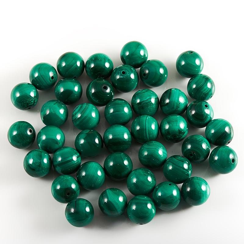 Бусина малахит  шарик 10-10,5 мм (1 шт)