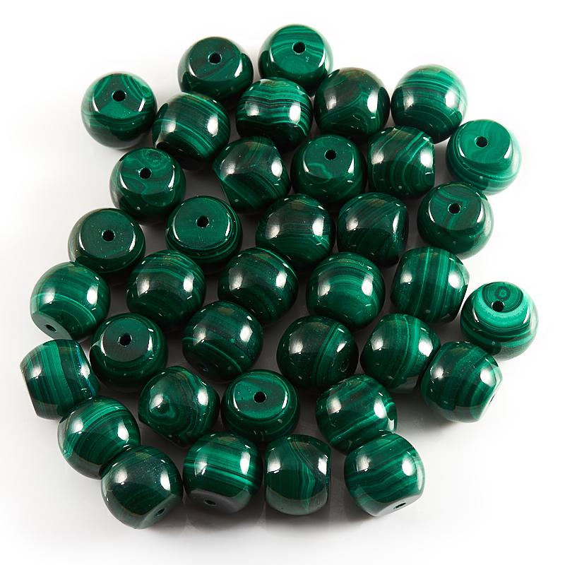 Бусина малахит  сплюснутый шар 10*12 мм (1 шт)