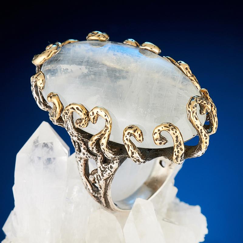 Кольцо лунный камень  (серебро 925 пр., позолота) размер 18 кольцо авантюрин зеленый серебро 925 пр размер 18