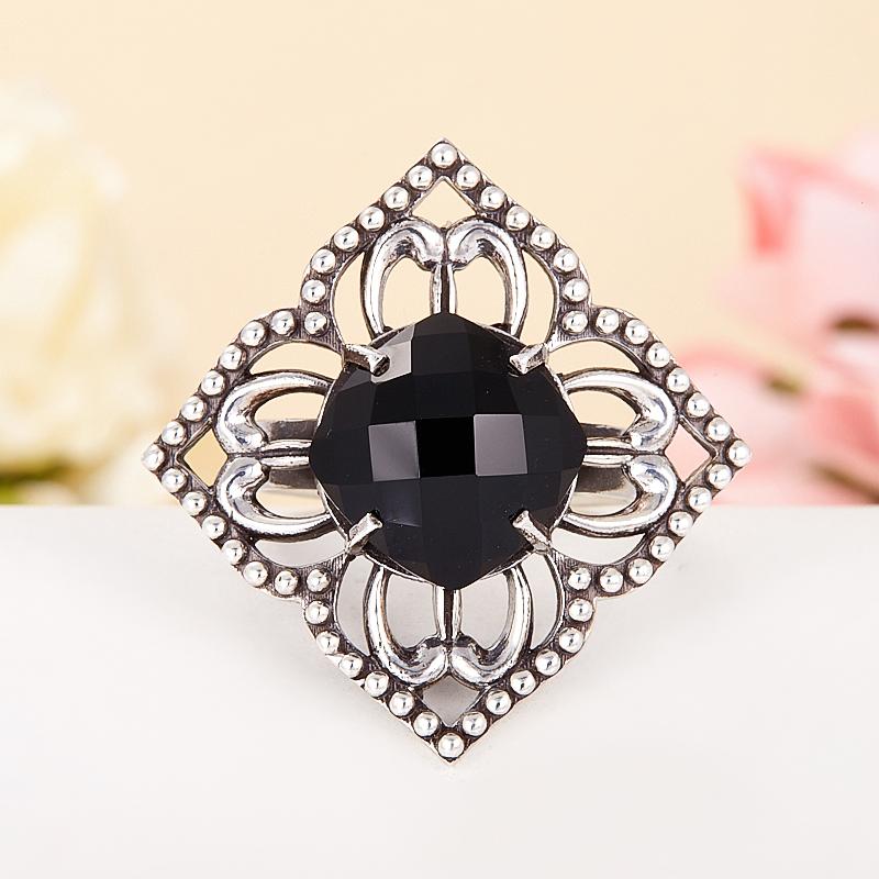 Кольцо шпинель черная  огранка (серебро 925 пр.) размер 18,5