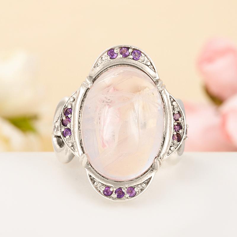 Кольцо розовый кварц, аметист  (серебро 925 пр.) размер 18