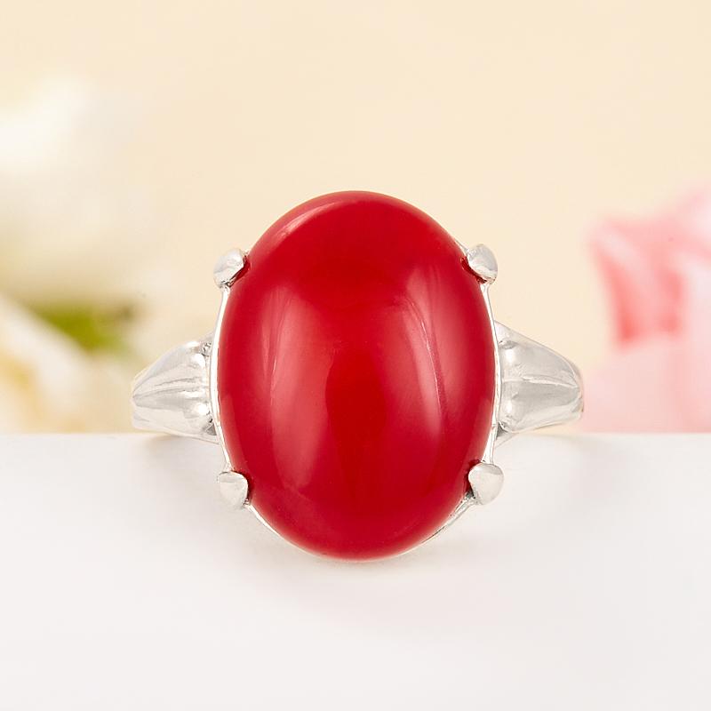 [del] Кольцо коралл красный Индонезия (серебро 925 пр.) размер 14