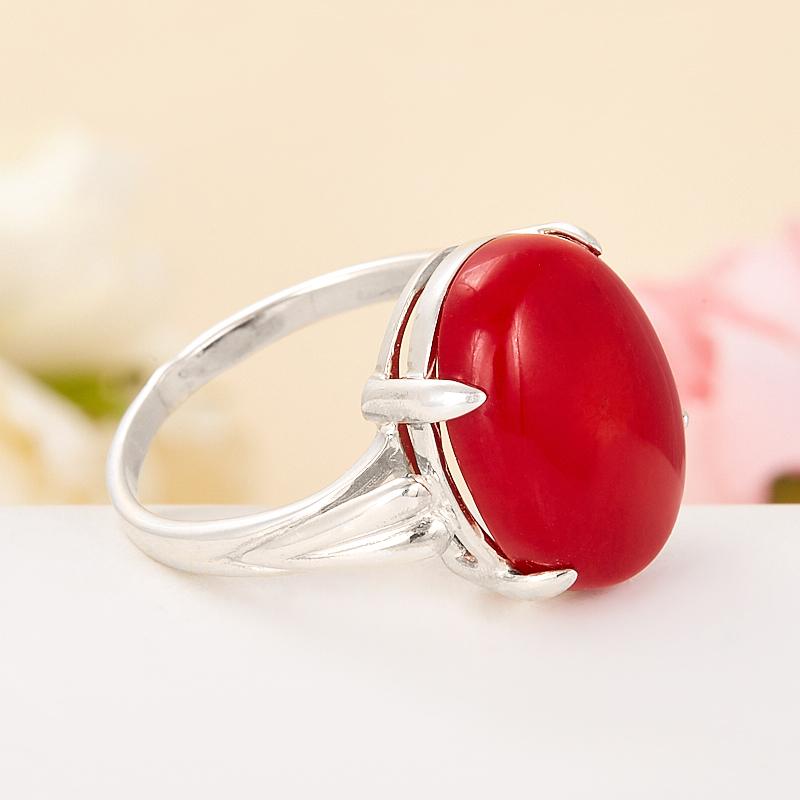 [del] Кольцо коралл красный Индонезия (серебро 925 пр.) размер 17