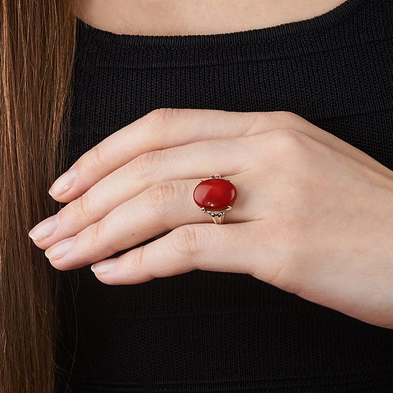 [del] Кольцо коралл красный Индонезия (серебро 925 пр.) размер 22
