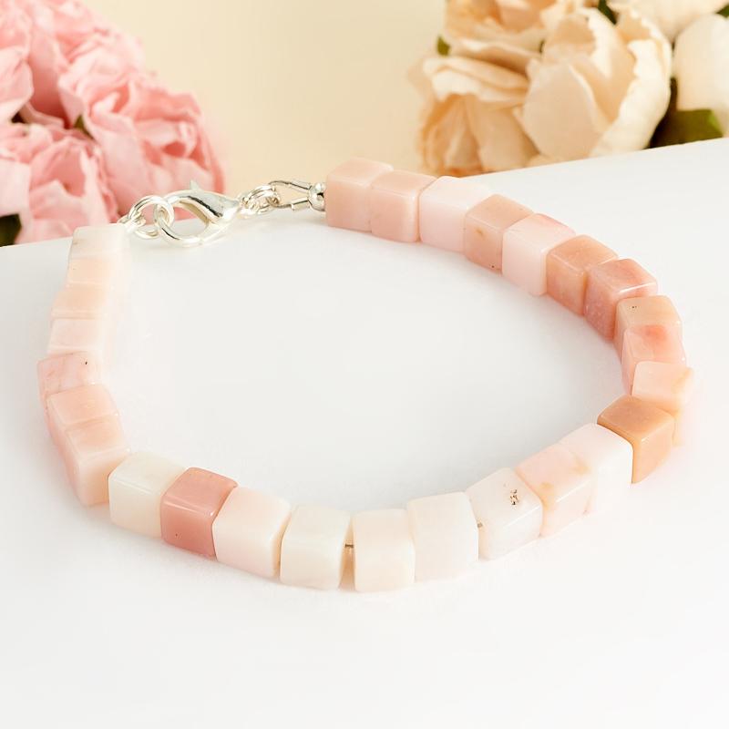 Браслет опал розовый  16 cм