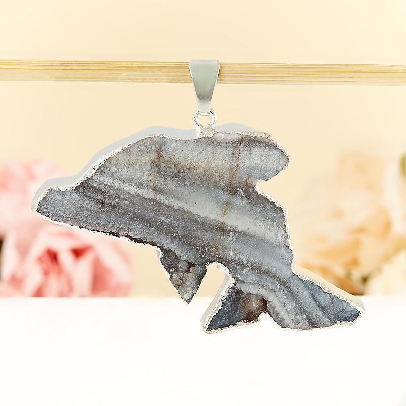 Кулон агат серый дельфин