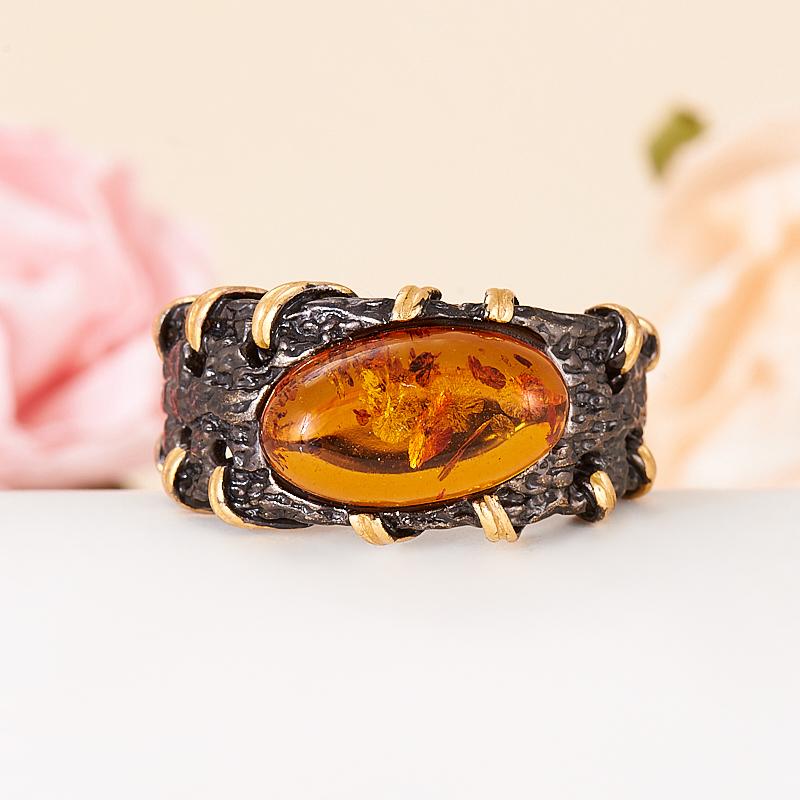 Кольцо янтарь  (серебро 925 пр., позолота) размер 17 кольцо янтарь серебро 925 пр размер 20 5