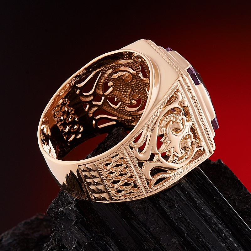 Кольцо аметист Бразилия огранка (золото 585 пр.) размер 24
