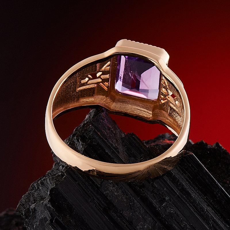 Кольцо аметист Бразилия огранка (золото 585 пр.) размер 20
