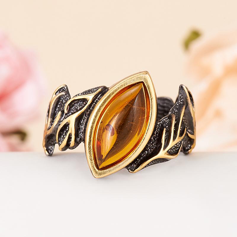 Кольцо янтарь  (серебро 925 пр., позолота) размер 17,5 кольцо янтарь серебро 925 пр размер 20