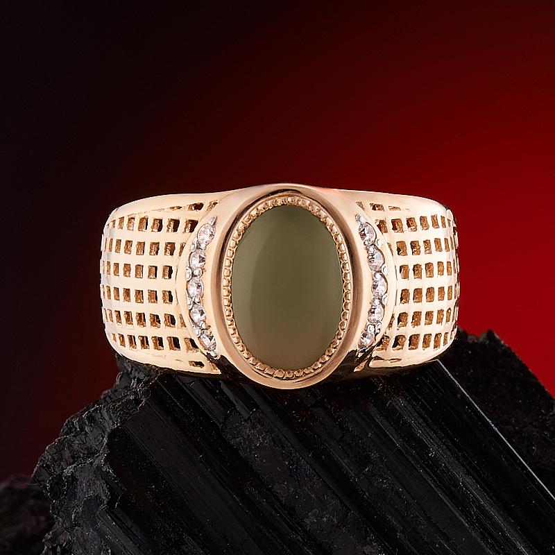 Кольцо нефрит зеленый Россия (золото 585 пр.) размер 15