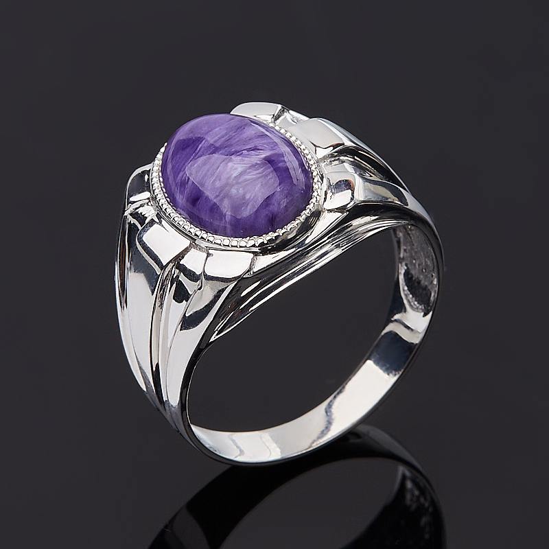 Кольцо чароит (серебро 925 пр.) размер 21