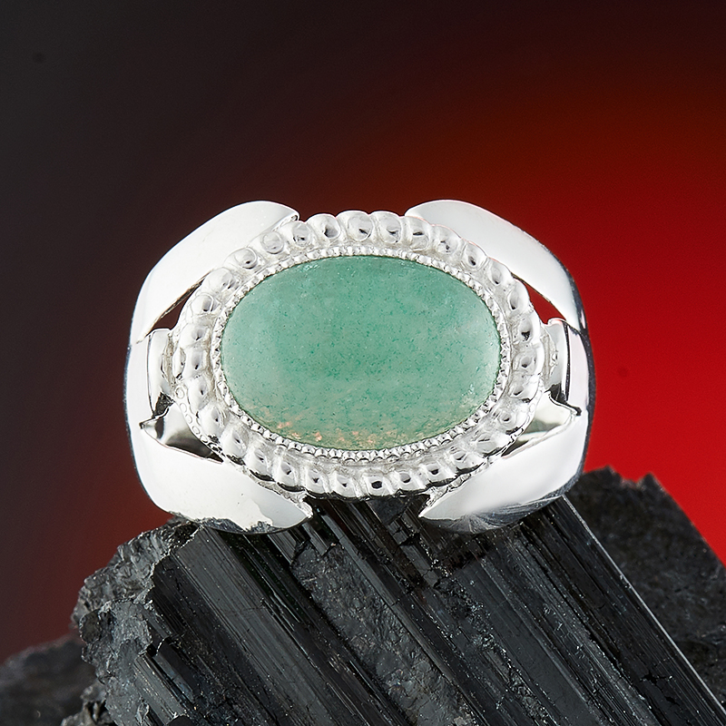 Кольцо авантюрин зеленый  (серебро 925 пр.) размер 21,5