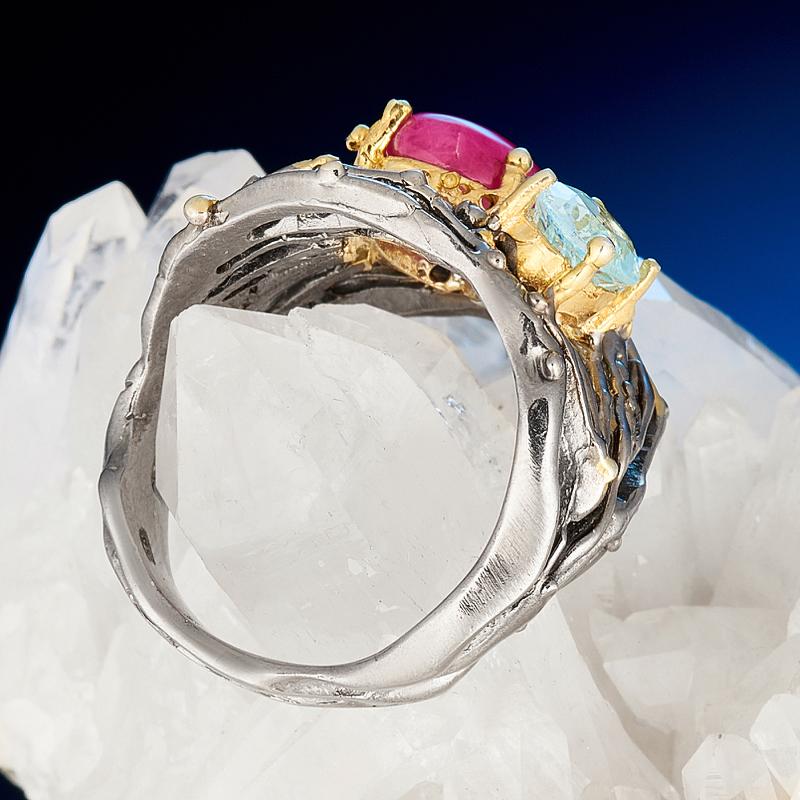 Кольцо микс рубин, топаз (серебро 925 пр. родир. черн. позолота) размер 19,5