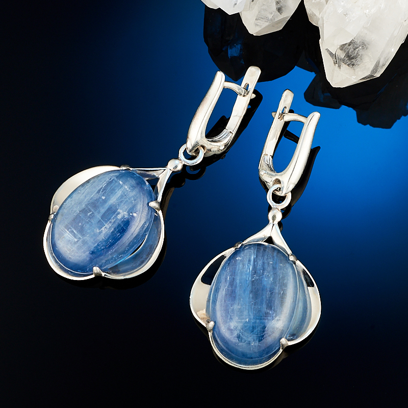 Серьги кианит синий  (серебро 925 пр.) серьги авантюрин зеленый серебро 925 пр