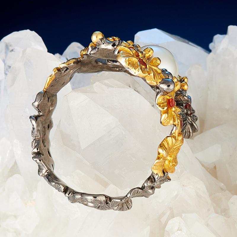 Кольцо жемчуг белый Гонконг (серебро 925 пр., позолота) размер 19,5
