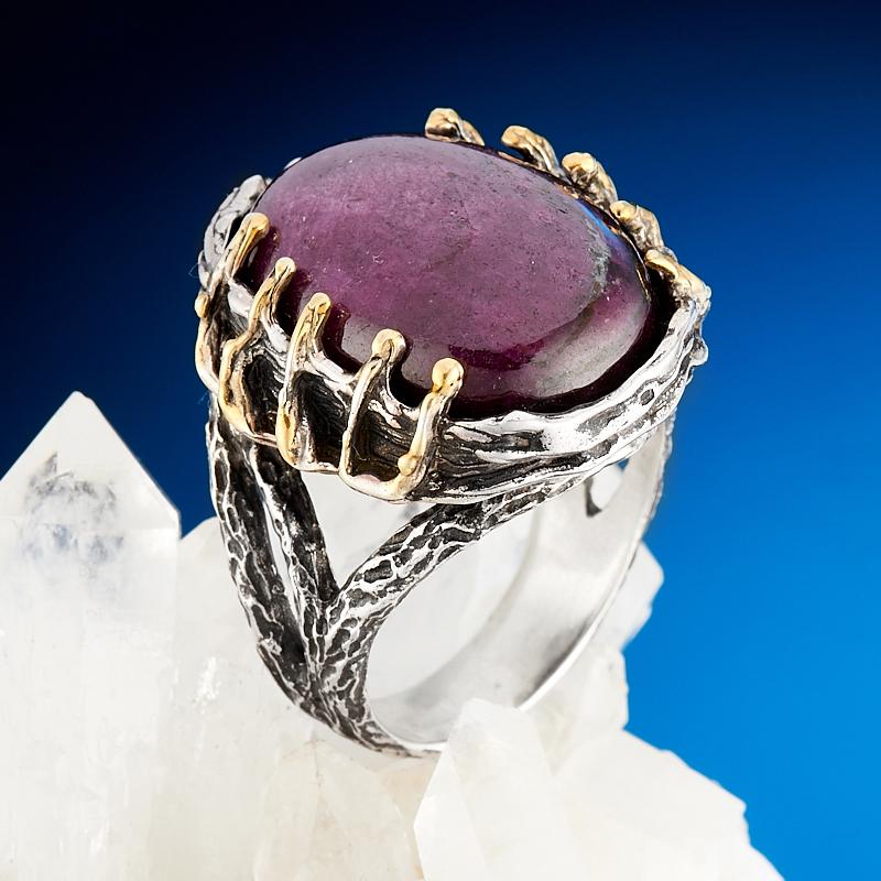 Кольцо корунд рубиновый  (серебро 925 пр.) размер 18