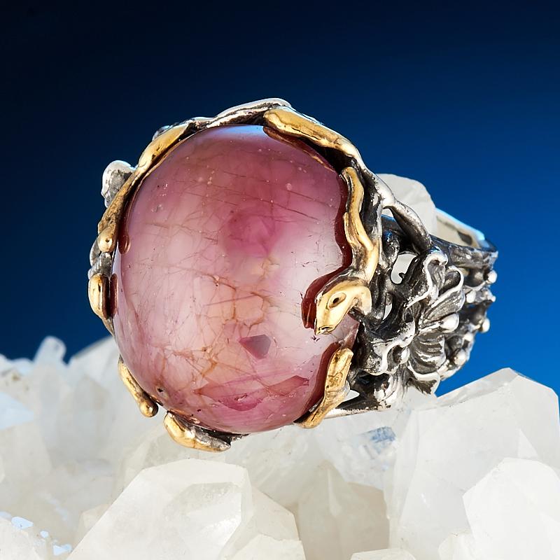 Кольцо звездчатый корунд рубиновый  (серебро 925 пр.) размер 17