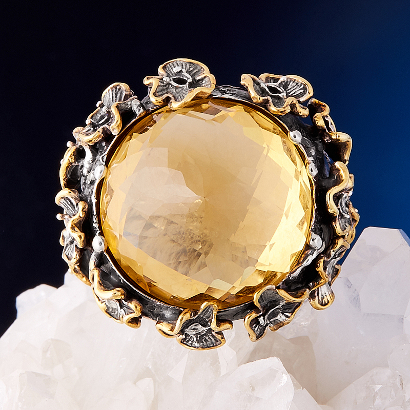 Кольцо цитрин  огранка (серебро 925 пр., позолота) размер 19