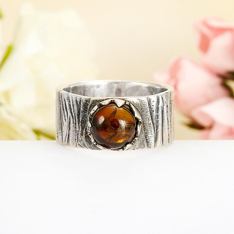 Кольцо турмалин коричневый (дравит)  (серебро 925 пр.) размер 18,5