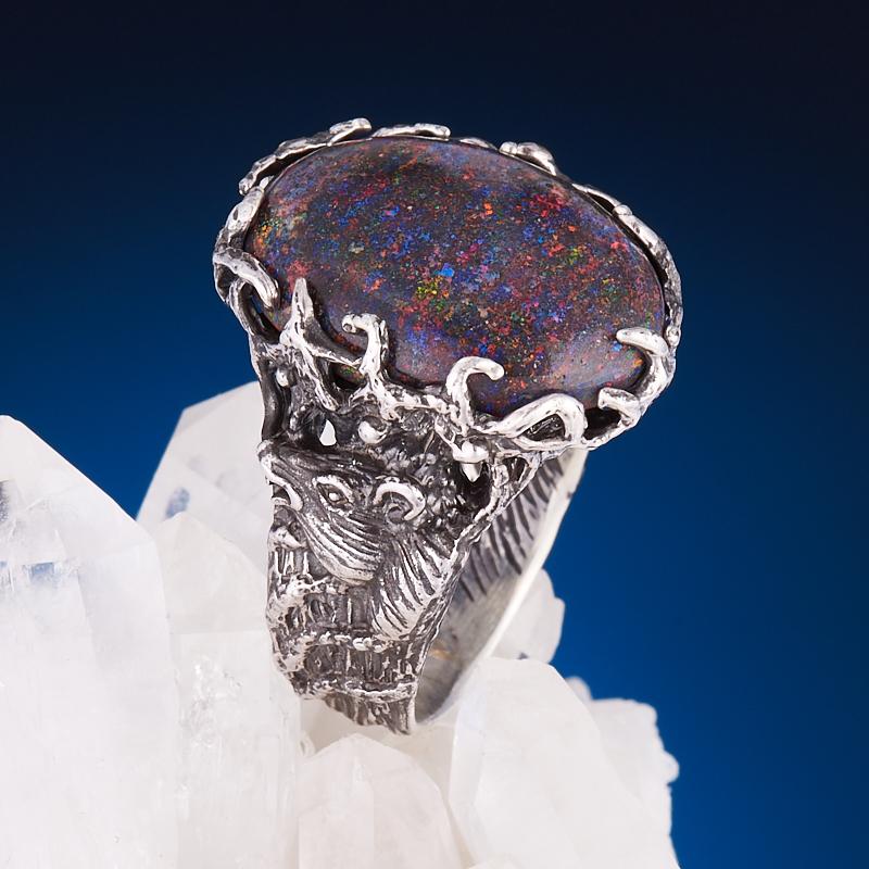 Кольцо опал благородный черный  (серебро 925 пр.) размер 17,5