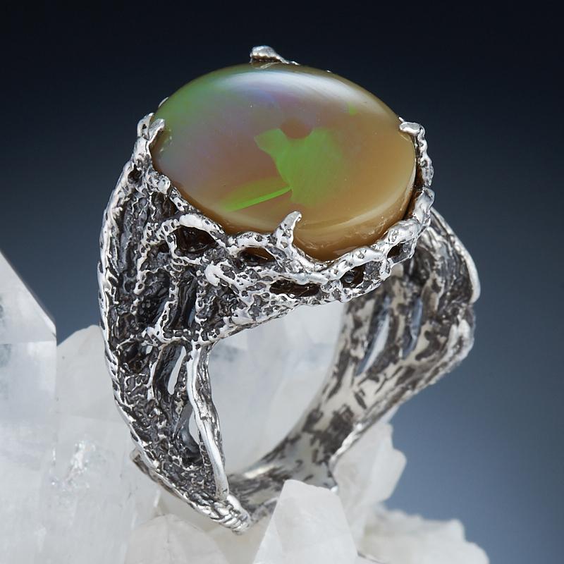 Кольцо опал благородный огненный  (серебро 925 пр.) размер 17,5