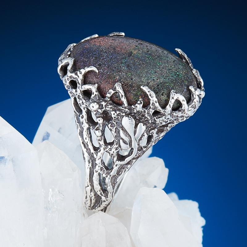 Кольцо опал благородный черный  (серебро 925 пр.) размер 16