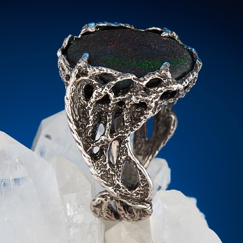 Кольцо опал благородный черный  (серебро 925 пр.) размер 18