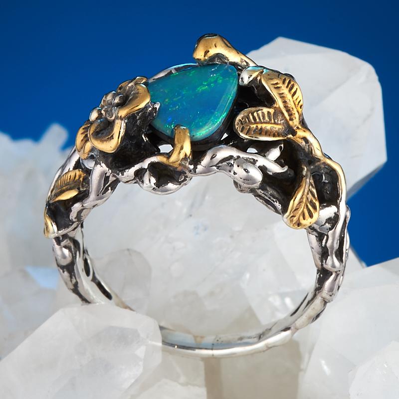 Кольцо опал благородный голубой (дублет)  (серебро 925 пр., позолота) размер 16