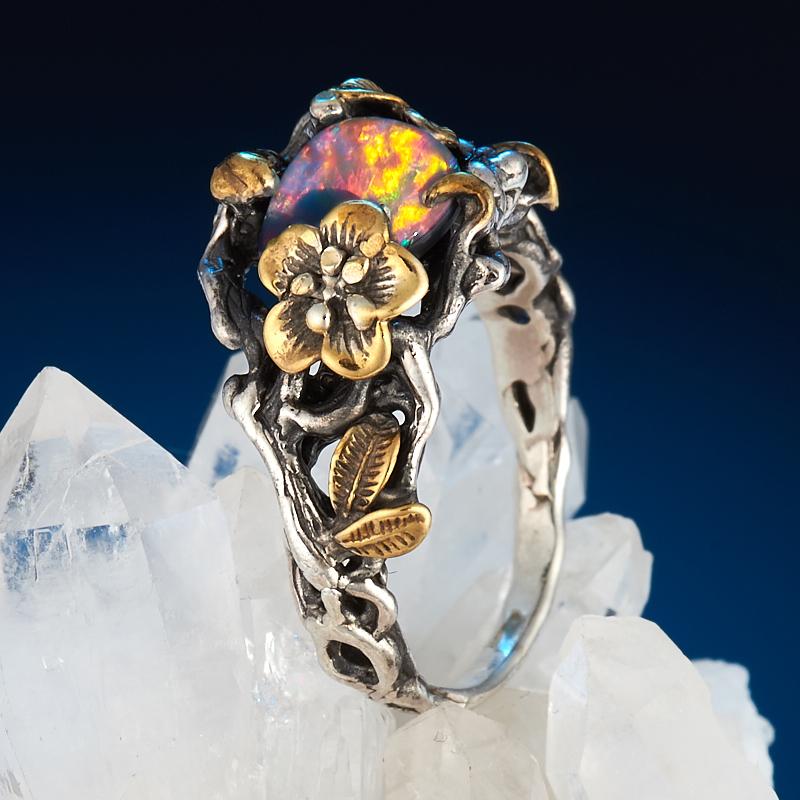 Кольцо опал благородный голубой (дублет)  (серебро 925 пр., позолота) размер 18,5