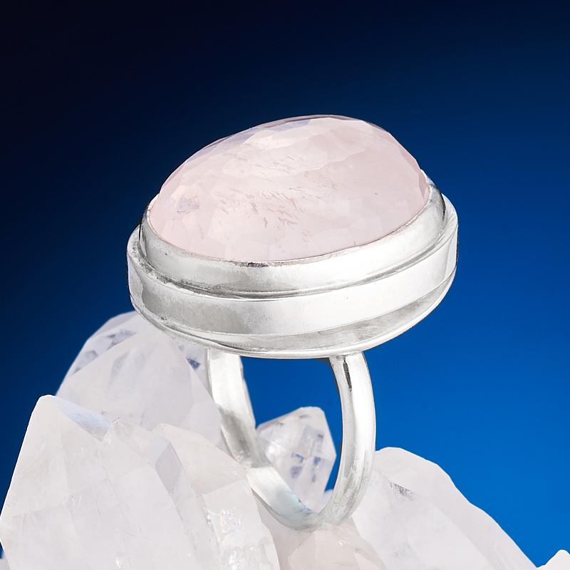 Кольцо розовый кварц  огранка (серебро 925 пр.) размер 17
