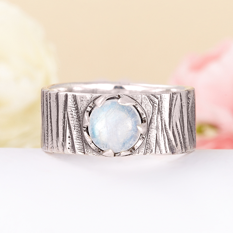 Кольцо лунный камень  (серебро 925 пр.) размер 21