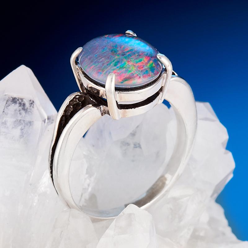 Кольцо опал благородный (триплет)  (серебро 925 пр.) размер 17,5