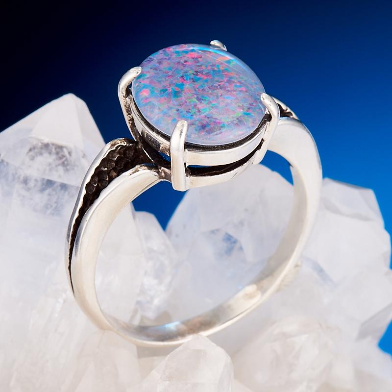 Кольцо опал благородный (триплет)  (серебро 925 пр.) размер 19
