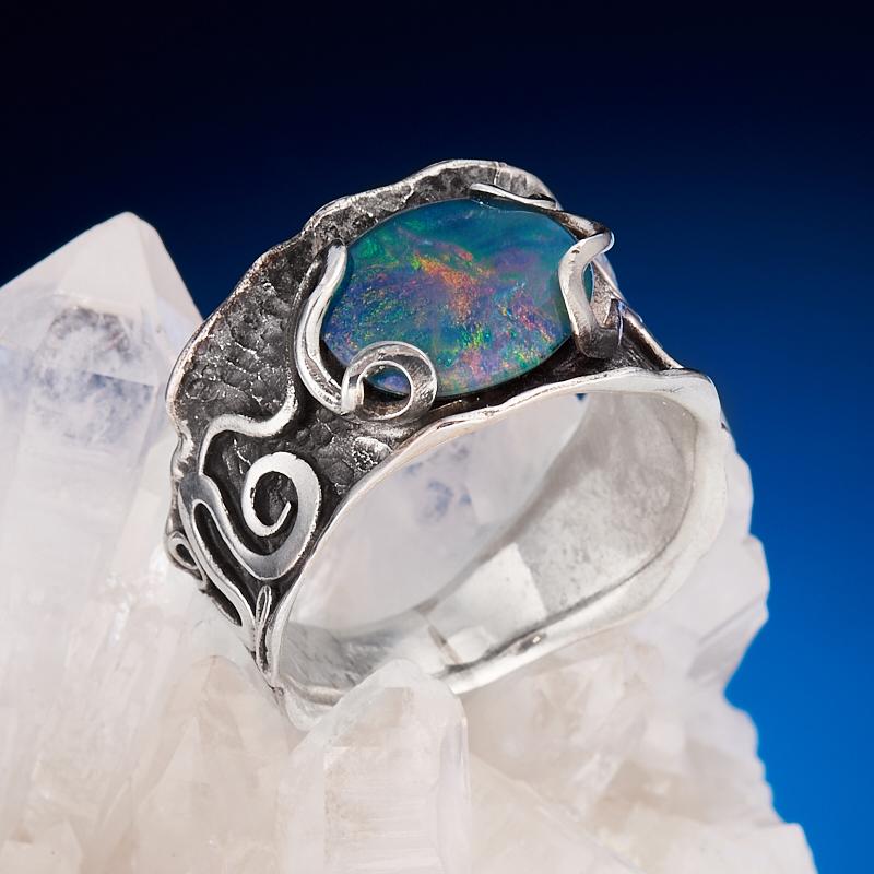 Кольцо опал благородный (триплет)  (серебро 925 пр.) размер 18,5