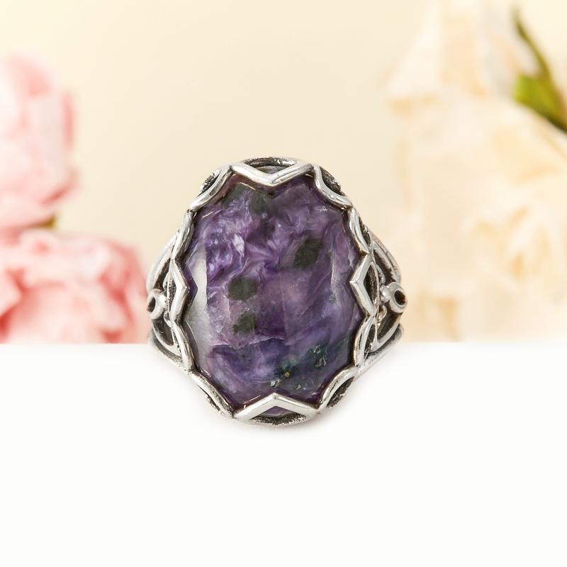 Кольцо чароит (дублет)  (серебро 925 пр.) размер 17